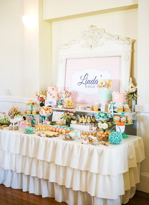 tea party pastel dessert table & Vintage Floral High Tea Bridal Shower // Hostess with the Mostess®