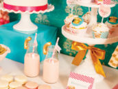 valentine dessert table in pink and teal