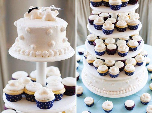 white starfish cupcake tower