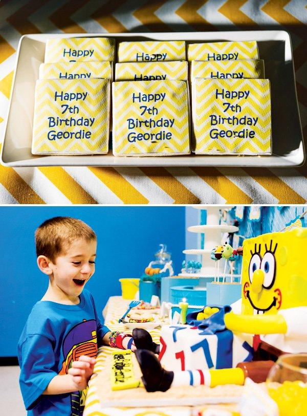 yellow chevron cookies for a spongebob squarepants birthday party