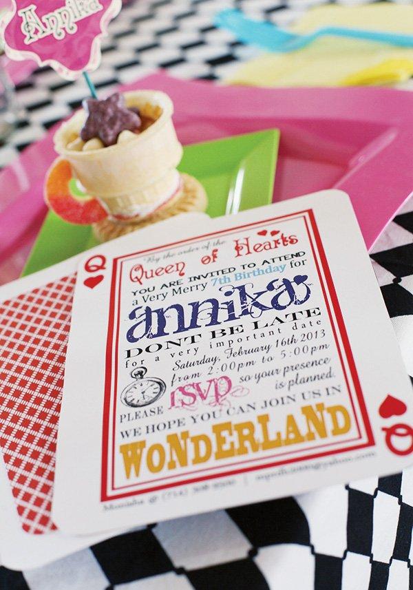 alice in wonderland card invitation