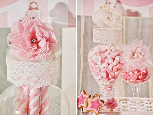 apothecary candy jars with lace and pink ruffle decorations