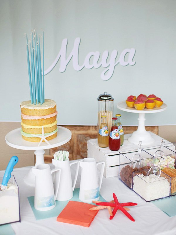 beachy ice cream dessert table