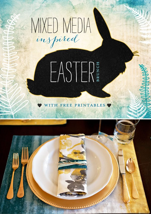 blue and yellow Easter place setting