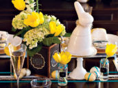 blue and yellow Easter centerpiece with ribbon glitter eggs