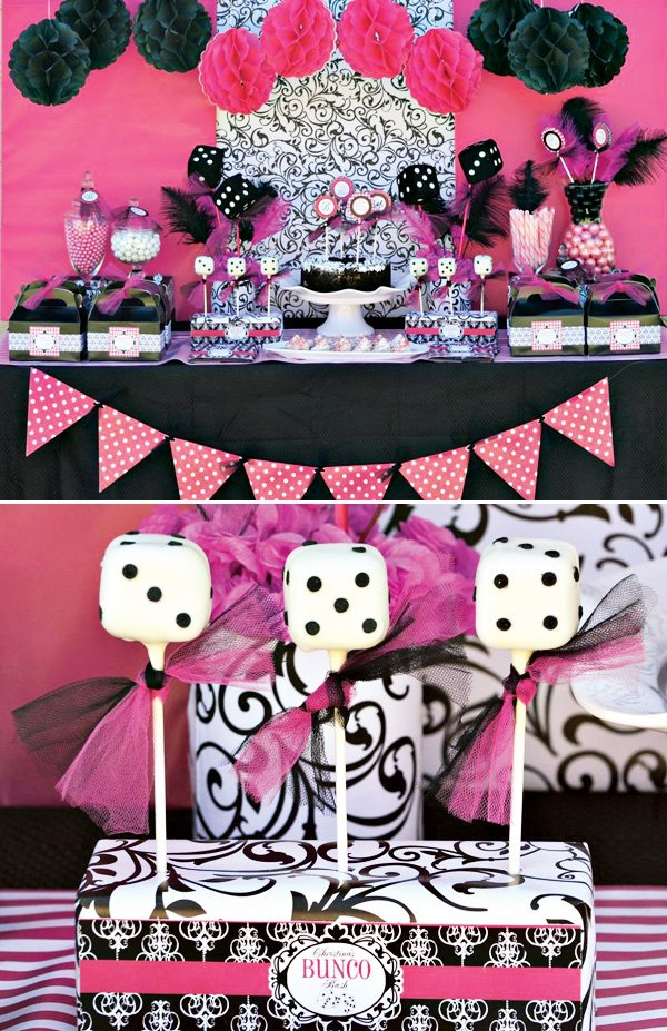 bunco party with a pink and black dessert table
