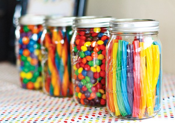 rainbow candy in mason jars