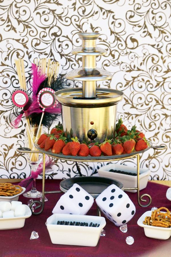 chocolate fondue at a bunco party