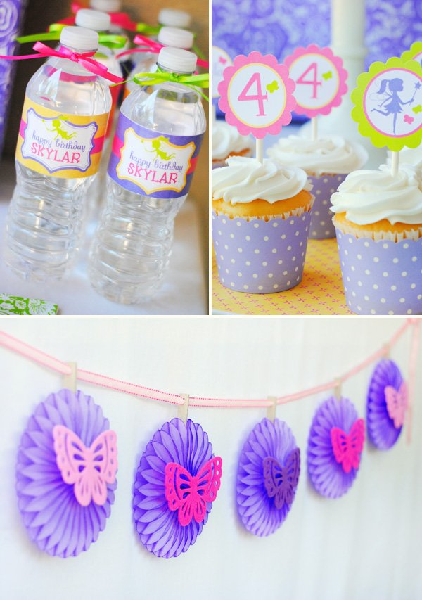 dessert table with purple butterfly banner