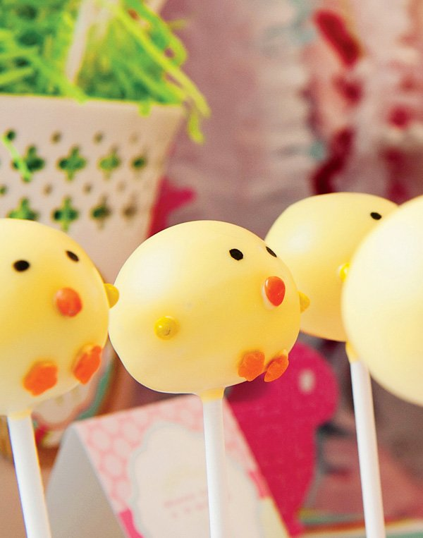 Chick Cake Pops Images : Bright, Pink & Shiny! Spring Easter Party // Hostess with ...