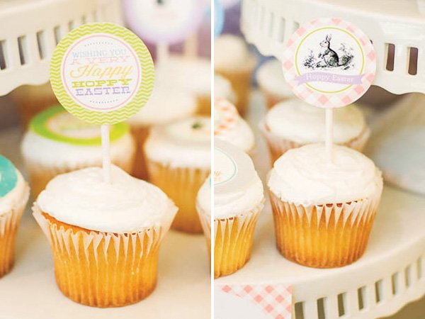 easter cupcakes with printable toppers