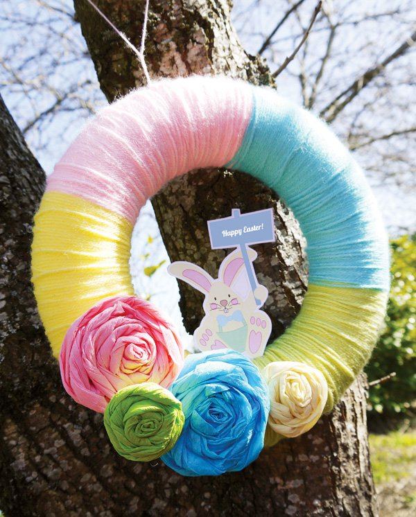 pastel yarn wreath for easter