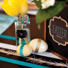 easter eggs with ribbon and glitter