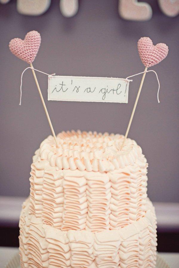 it's a girl pink ruffle cake