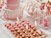 pink dessert table with pink macarons