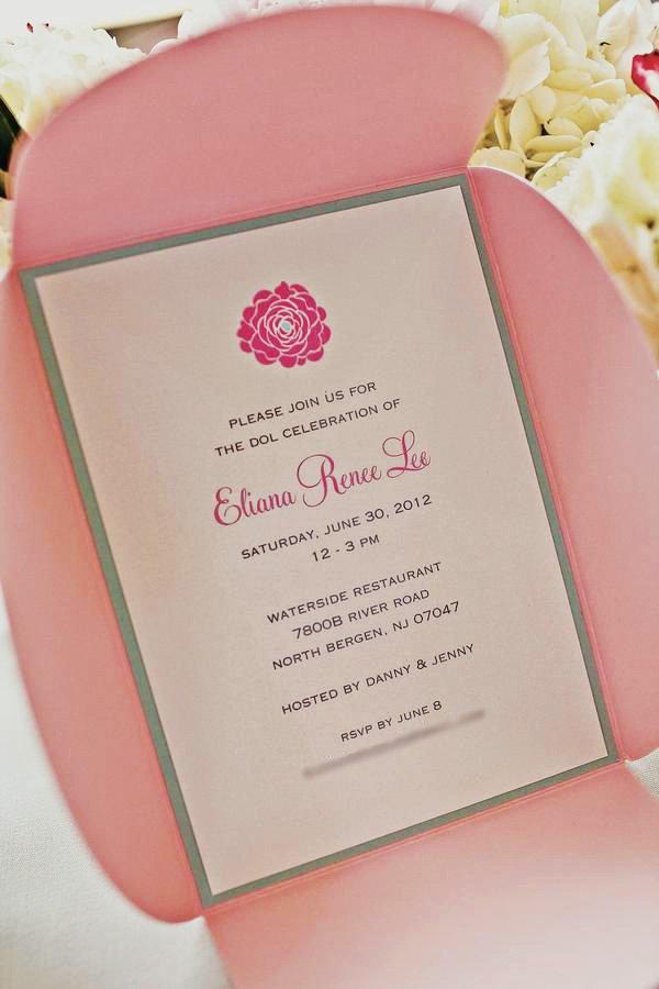 pink first birthday invitation