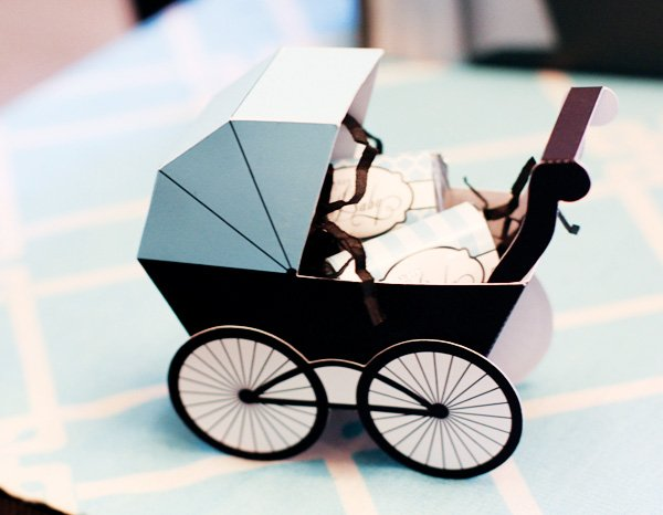 Blue printable paper pram carriage