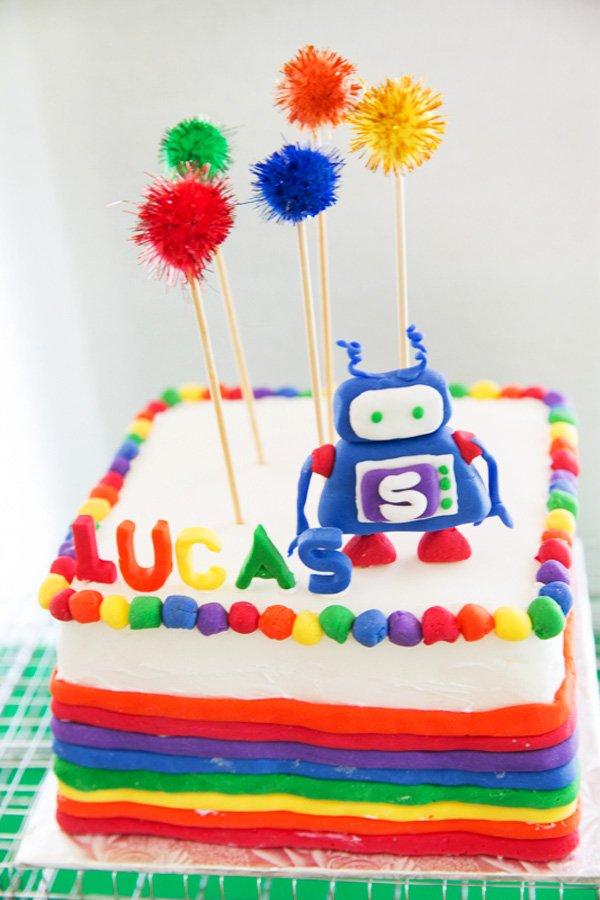 rainbow robot cake