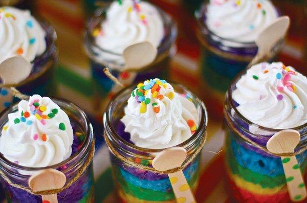 rainbow cakes in jars