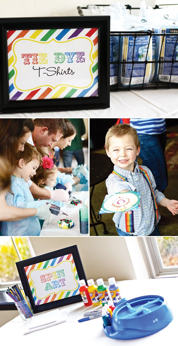 rainbow party tye dye and pin art activities