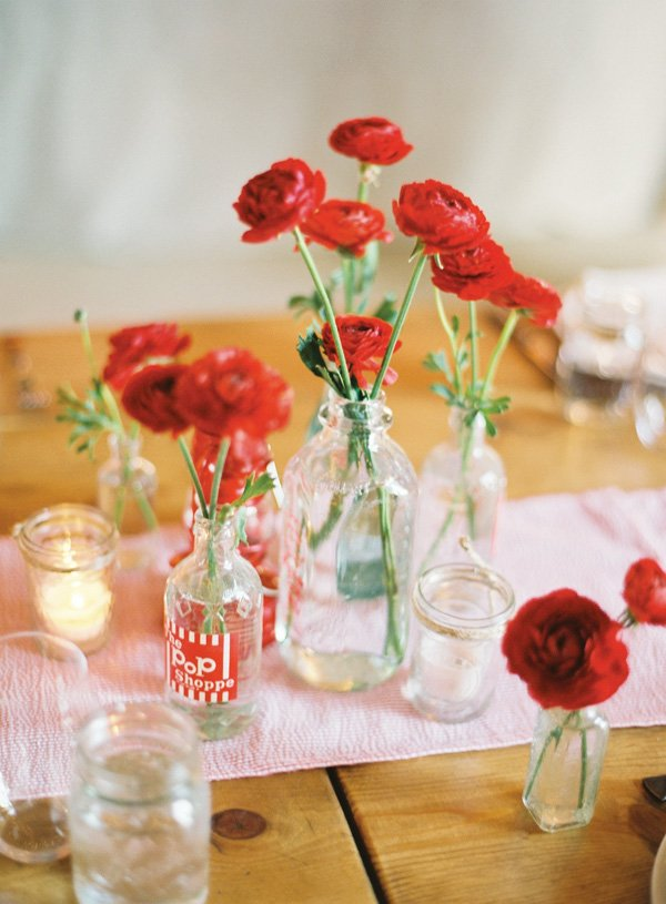 red flower centerpiece
