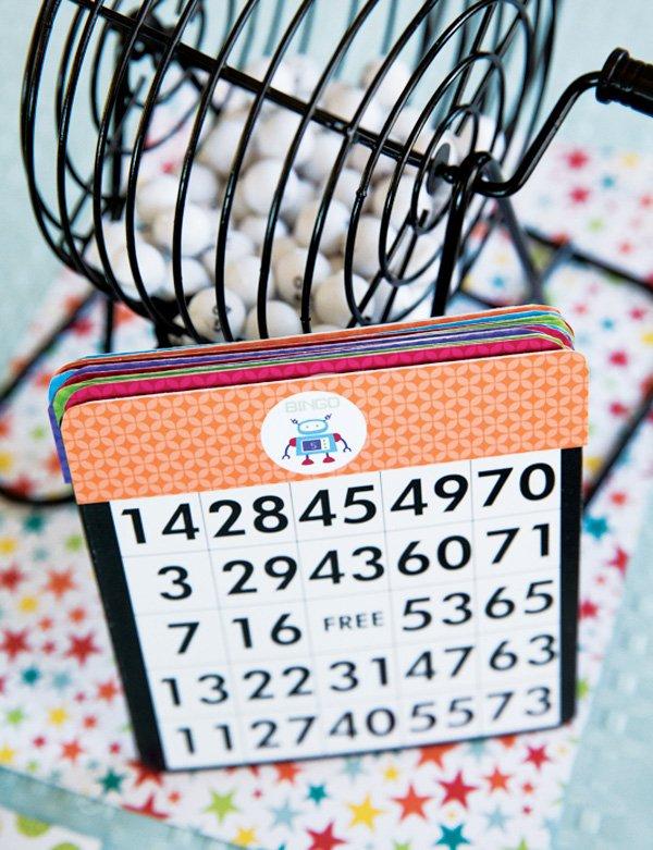 rainbow robot party bingo