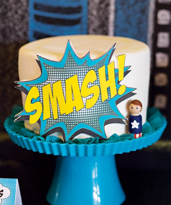 super hero smash cake