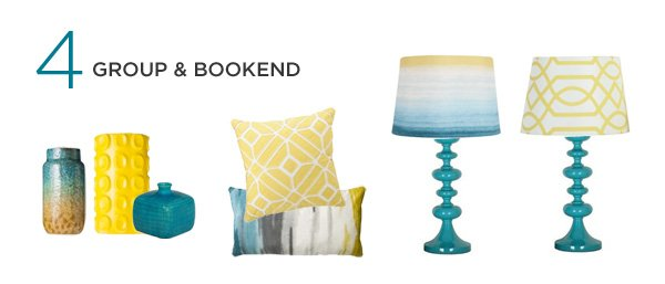 teal and yellow mood board - living room