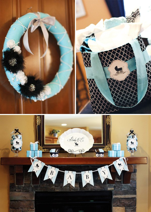 Black and aqua baby shower decorations