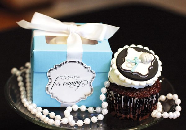 Tiffany's box inspired baby shower favors