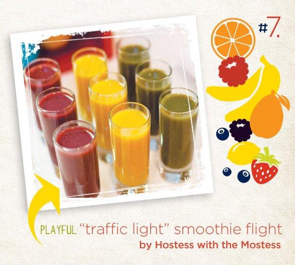 traffic light smoothie flight - transportation party snack idea