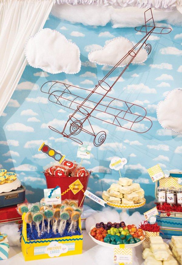 transportation baby shower dessert table