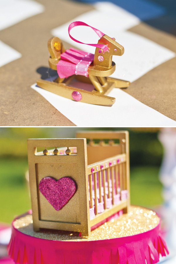 gold and pink baby furniture