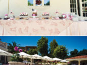 backyard bridal shower with tissue pom chandelier