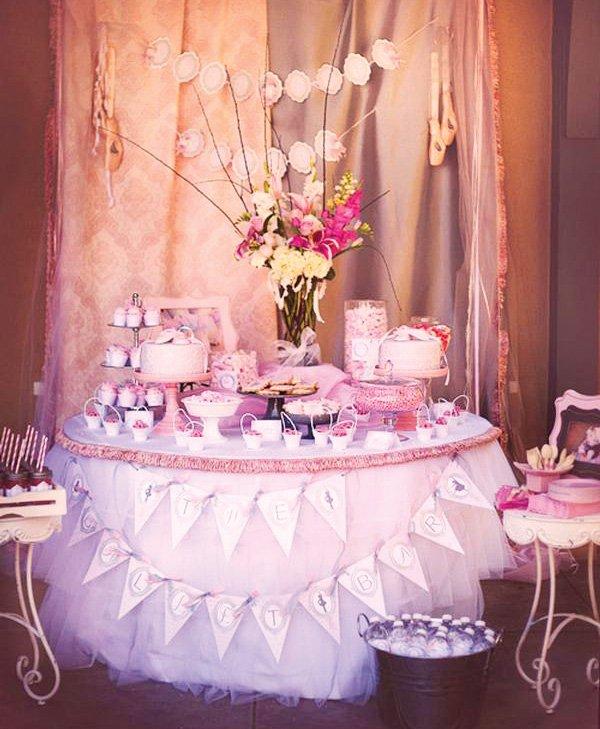 ballerina dessert table with tutu skirt