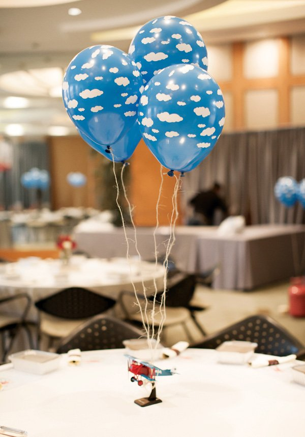 airplane cloud balloon centerpiece idea
