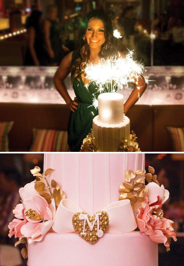 pink monogram birthday cake