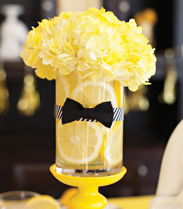 lemon and bow tie vase