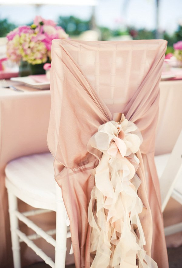 ruffled, blush chair back