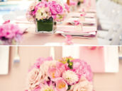 blush colored floral centerpieces