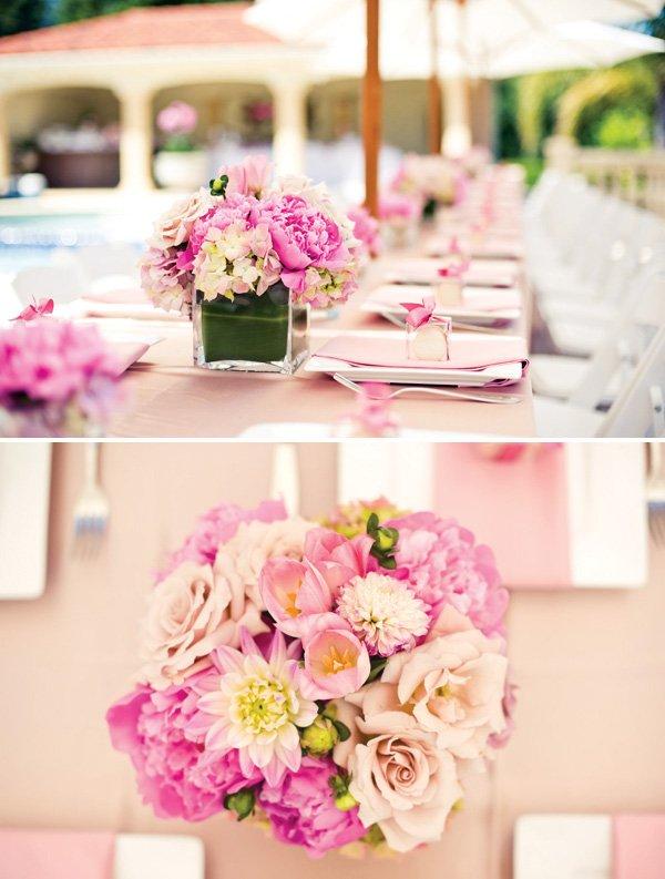 blush colored floral centerpieces