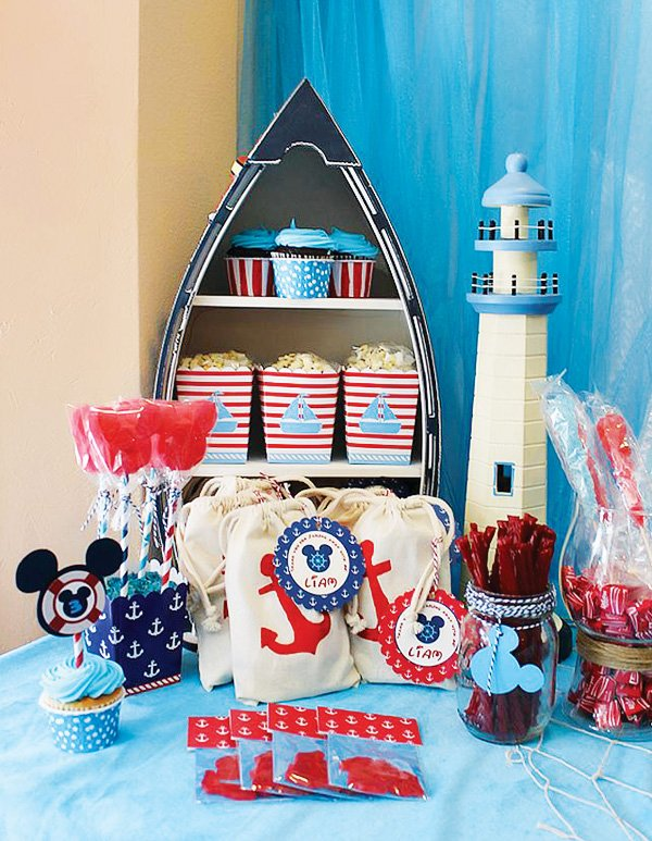 Cute nautical mickey mouse birthday party hostess with for Anchor decoration party