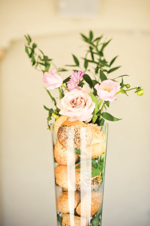 vase filled with bread and flowers