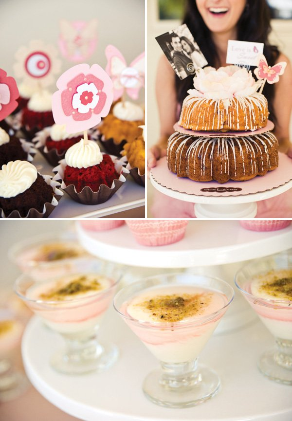 bridal shower cupcakes with floral toppers