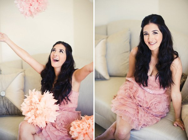 bride-to-be with pink tissue poms