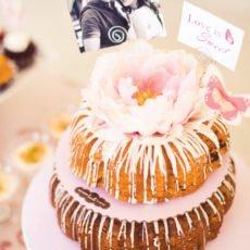 bundt cake with flower cake topper