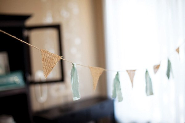 burlap and fabric bunting idea