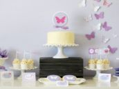 lavender butterfly dessert table