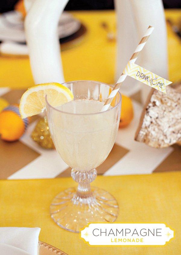 champagne lemonade cocktail recipe in MADHOUSE Tritan Goblet