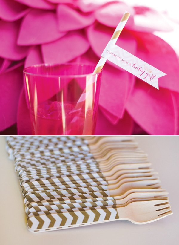 chevron forks and pink cups